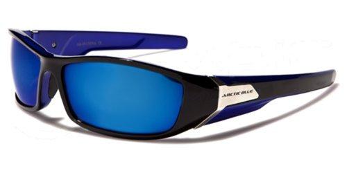 ArcticBlue Sonnenbrillen - Sport - Radfahren - Skifahren - Laufen - Driving - Motorradfahrer / Mod. Kite Bicolor Schwarz und Blau Spiegel / One Size Adult
