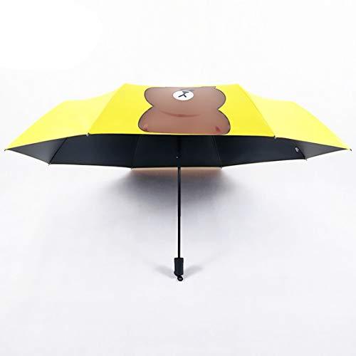 Delicacydex Kawaii Bär Printed 3 Folding Sun Regen Regenschirm Outdoor Reisen UV Schutz Windproof Sonnenschutz schwarz beschichtet Regenschirm - Gelb & Schwarz