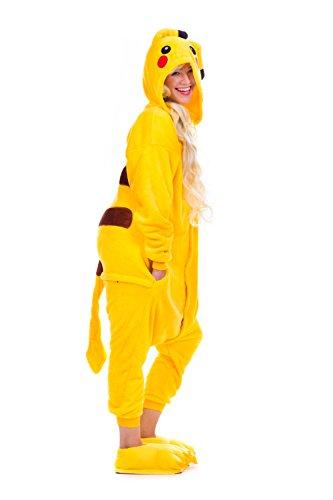 �m BLAU LILA einteiler für Kinder Teenager und Erwachsene Overall UNISEX Damen Jumpsuits (M, PIKACHU) (Pikachu Kostüm Tragen)