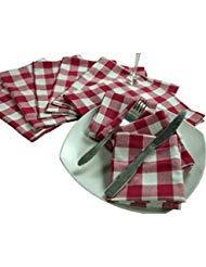 Ramanta Home 12Pack Gingham Check Abendessen Servietten 18x 18-Rot Weiß Gingham Checks, Serviette