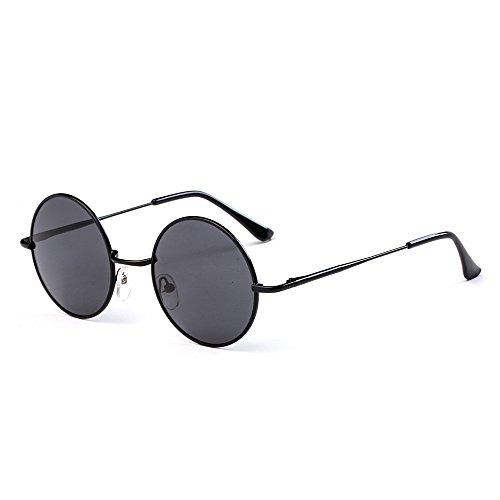 Easy Go Shopping Metall runder Rahmen Unisex polarisierte Sonnenbrille. Sonnenbrillen und Flacher Spiegel (Farbe : Black+Grey)
