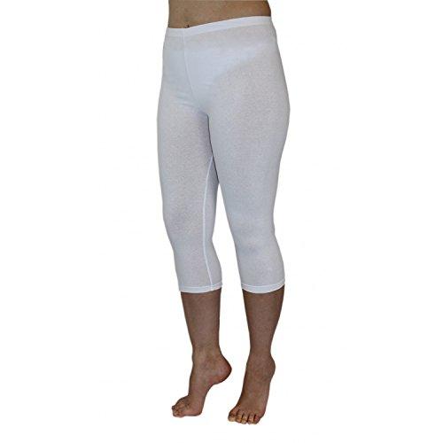 Blickdichte Leggings für Damen Capri Hose Leggins Bunt aus Baumwolle 3/4 Länge, Farbe: Weiß, Größe: 44-46 (Leggings Taille Capri-elastische)