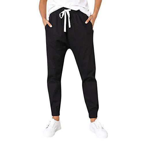 n 2019, ❤️ Amoyl Solid Straight Leg Hosen Lässige Damengürtelbinde Mid Waist Hosen ()