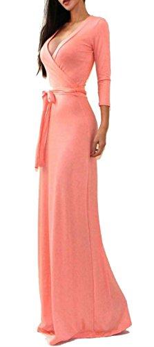 D-Pink Elegante Slim V-Ansatz Kleid Bankett-Party Maxikleid Koralle