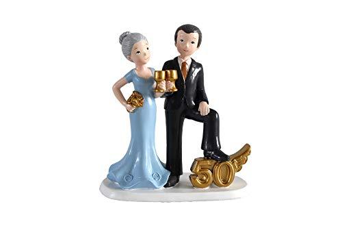 DISOK - Figura Pastel 50 Aniversario Copas - Figuras Aniversarios Bodas de Oro