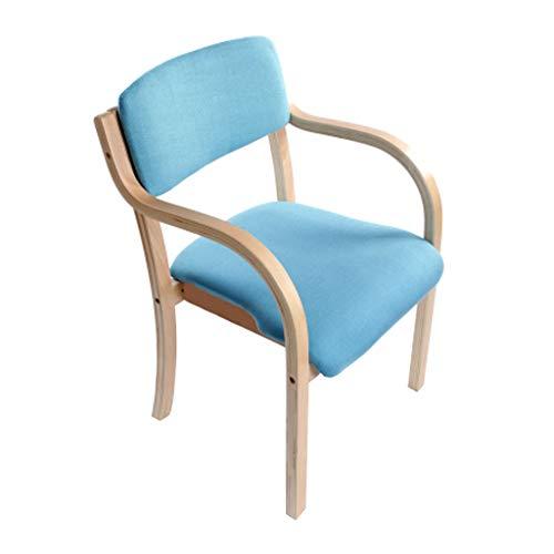 Chaise de salle à manger en bois massif Chaise en bois européen Accueil Balcon Bureau Fauteuil Cafe Siège de l'hôtel/Bleu - Paquet de 1