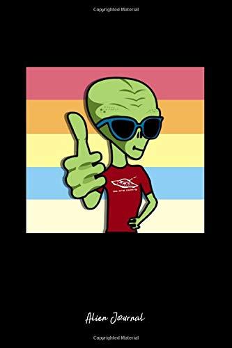 Alien Journal: Dot Grid Journal - Alien Thumbs Up Sunglasses Rainbow LGBT Halloween Gift - Black Dotted Diary, Planner, Gratitude, Writing, Travel, Goal, Bullet Notebook - 6x9 120 page