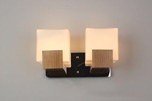 LLKOZZ Spiegel Vorderleuchten, Eiche Wandleuchte Woody ländlichen frischen modernen Simple Stil Engineering Schlafzimmer Bett Treppe Spiegel Frontlicht Spiegelscheinwerfer (Color : 2 Head) (Schweißen Engineering)