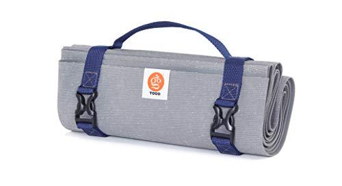 Yogo Ultraleichte Reise Yoga-Matte mit Riemen, Griff, Origami Klapp-Design für das Pendeln und Reisen (Slate-Ocean)