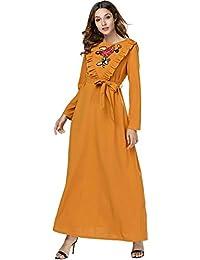 Acqrobe Robes Kaftan Musulmanes Femmes - Décontractée Col Rond Manches  Longues surdimensionné Broderie Abaya Jilbab Robe a6b3b04f031