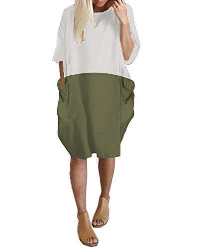 Kidsform Damen Lose Kleid Rundhals Lange Oberteile Mit Tasche Oversize Bluse Tops Plus Größe Weiß & Grün EU 46/Etikettgröße (Plus Größe Damen Stiefel)