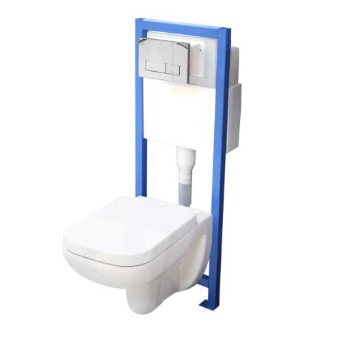 Chrom Wand (All-In-One-Set V3: Lavita Vorwandelement inkl. Drückerplatte chrom + Wand WC ohne Spülrand + WC-Sitz mit Soft-Close-Absenkautomatik)