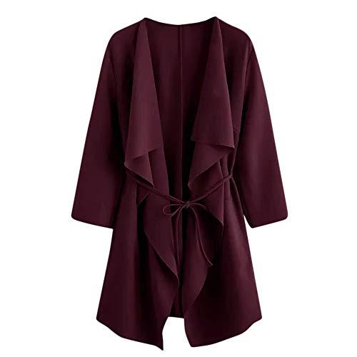Goosuny Cardigan Damen Frühlingsjacken Leichte Jacke Lässig Schöne Wasserfall Kragen Taschen Mantel Jacket Outwear Schicke Mode Lange...