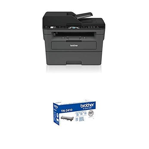 Brother MFC-L2710DN Kompaktes 4-in-1 S/W-Multifunktionsgerät (30 Seiten/Min., Drucken, scannen, kopieren, faxen, A4, echte 1.200x1.200 dpi, USB 2.0, Duplexdruck, LAN) + TN-2410 Tonerkartusche, schwarz (Kompakte Laser All In One Drucker)