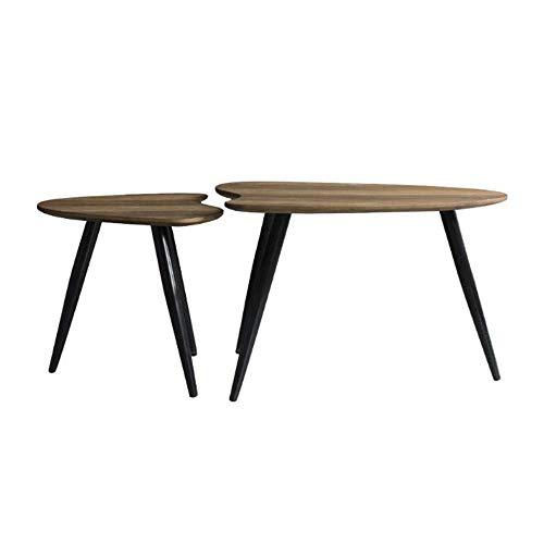 BinLZ-Table Satz von 2 Modern Nesting Beistelltisch Holz Couchtisch Sofa Beistelltisch Wohnzimmer Eisen Kunst Ecktisch (Holz Nesting Tables)