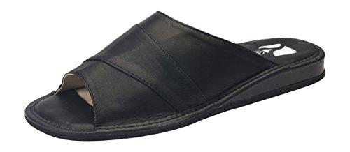 Comode Pantofole di Lusso in Vera Pelle da Uomo Nero