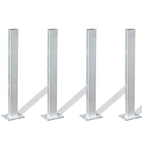 XINGLIEU Zaunpfosten 4 Stück 40cm Stahlzaunpfosten zur Sicherung von Gartenzäunen, Pergolen und...