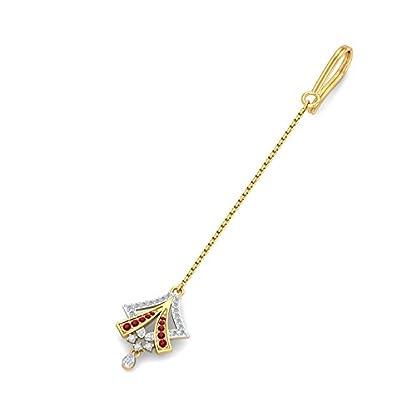 KuberBox 18KT Yellow Gold, Diamond and Ruby Maang Tika for Women