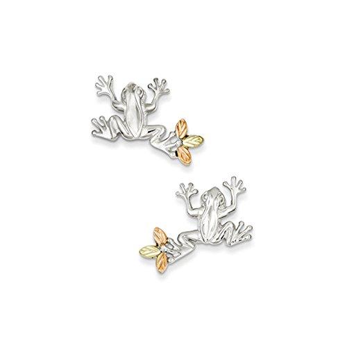 Black Bow Jewellery Company Ohrringe Post: Frosch Sterling-Silber 925 mit 12 k Gold Leaf Akzenten (Gold Leaf Akzente)