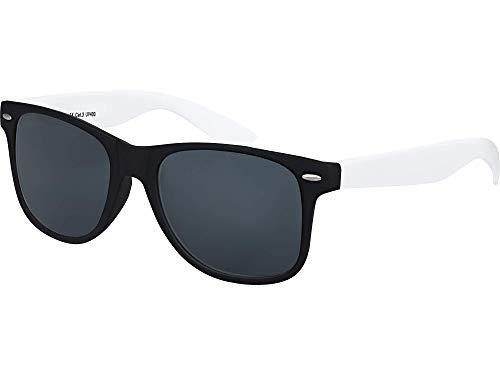 Balinco Hochwertige Nerd Sonnenbrille Rubber im Wayfarer Stil Retro Vintage Unisex Brille mit Federscharnier - 96 verschiedene Farben/Modelle wählbar (Weiß/Schwarz - Smoke)