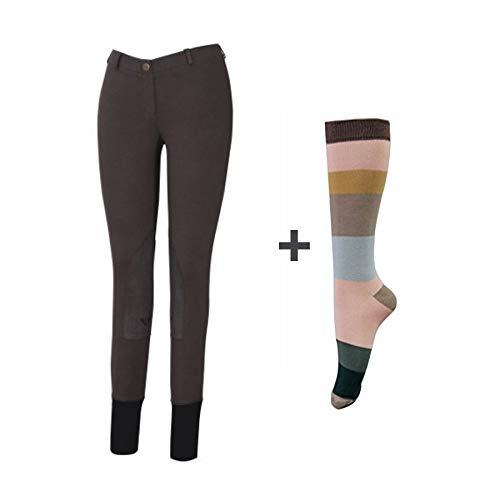 TuffRider Damen Starter Lowrise Pull auf Hose mit Frei Stiefel Socken | Knie Patch | Reiten Hose | Equestrian Apparel, Damen, DarkCharcoal, 26 (über Knie-hosen-socken)