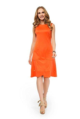 Damen Basic Mittellanges Kleid Dress Abendkleid Freizeitkleid Sommerkleid Gr. S M L XL 36 38 40 42 Orange