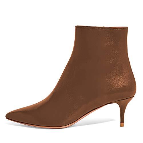 (Lutalica BX002 Frauen Spitzschuh Low Kitten Heel Reißverschluss Komfort Kleid Stiefeletten Schuhe Matt Braun Größe 37 EU)