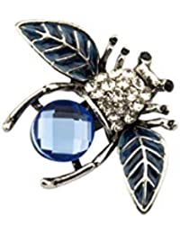 e21fcb7d64b Knighthood Exclusive Silver and Blue Rhinestone Decoration Honeybee Insect Bee  Brooch Lapel Pin for Men