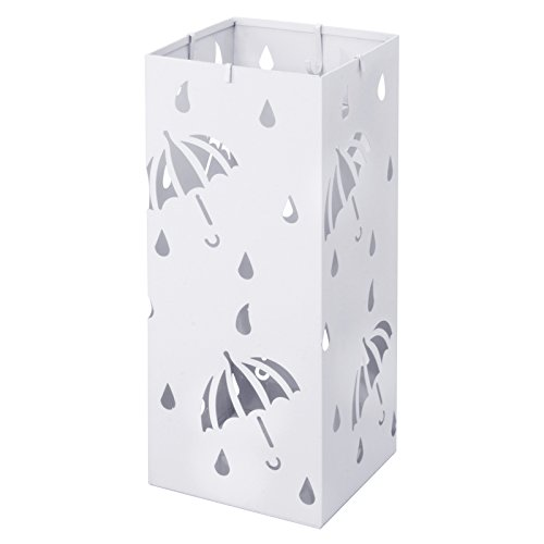 Woltu sst02ws portaombrelli supporto da appoggio per ombrellone contenitore quadro in ferro bianco