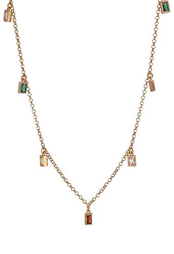 Charms Halskette bunte Kristalle Regenbogen Silber Laminat Rosa Fantasie Monile OJ8VXFM