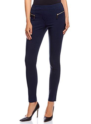 oodji Collection Damen Klassische Hose Slim-Fit mit Normalem Bund und Zierreißverschlüssen, Blau, DE 44 / EU 46 / XXL (Schlanker Womens Naht)