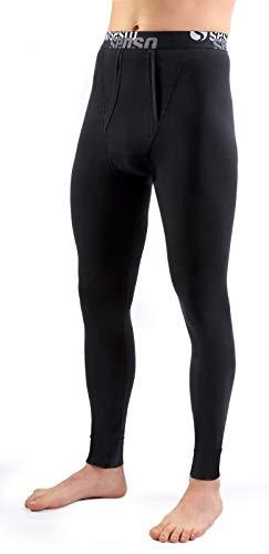 Sesto senso pantaloni funzionali termiche lunghe da uomo calzamaglia intimo leggings mutande lunghe thermo active (l, nero)