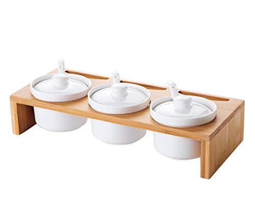 Xiaodianer barattolo di condimento in ceramica, set personalizzato oliera per la casa (3 pezzi), bianco