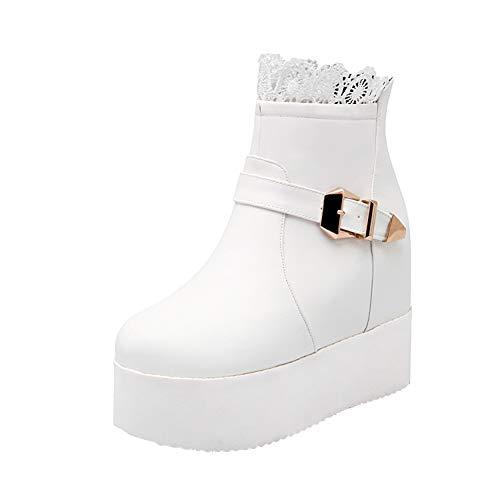 Y2Y Studio Boots Femmes avec Lace Sexy Décoration en Métal Talon Compensé Bout Rond pour Hiver