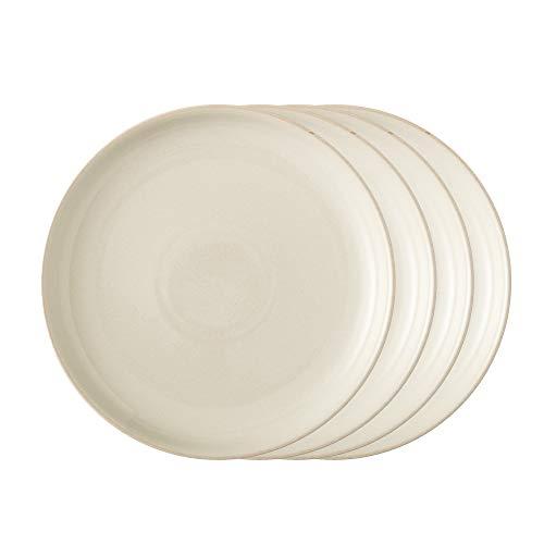 Denby LIN-003B/4 Linen Set of 4 Coupe Dinner Plates Teller-Set, Steingut, cream; neutral Coupe Dinner Plate