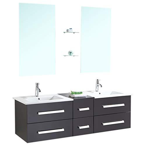 Grafica ma.ro srl mobile arredo bagno modello rome 150 cm arredobagno sospeso rubinetteria lavabi bianchi e mobile nero, rubinett. e due lavabo inclusi