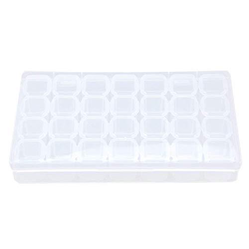 Okayji Plastic 28 Slots Storage Box Nail Art Rhinestone Jewelry Display Multipurpose Jewelry Mini Tool Organizer, 1-Piece