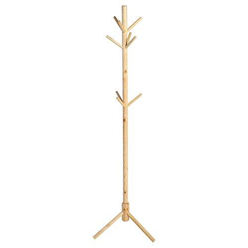 Perchero de Pie de Madera, Soporte para Colgar Ropa Gorros Tipo de Árbol con 9 Ganchos en 3 Niveles para Pasillo Entrada Habitación Vestíbulo Oficina, 176 cm (Madera)