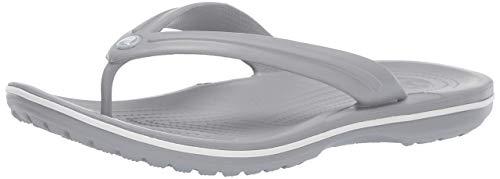 Crocs Unisex-Erwachsene Zehentrenner Zehentrenner Crocband Flip, Grau (Light Grau/Weiß), 41-42 (Herstellergröße: M8/W10)