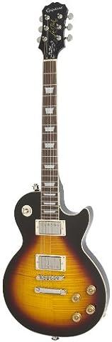 Epiphone Les Paul Tribute Plus Outfit mit Gibson 57 Classic Pickups inklusive Koffer (Vintage Sunburst Lack, Mahagoni und Ahorn Korpus,