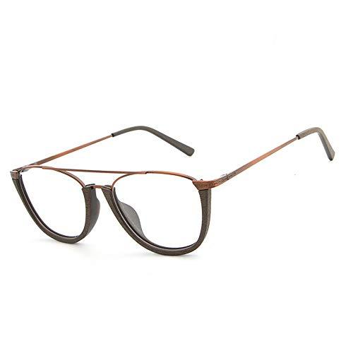 Retro Flat Glasses Frame Plate Holzmaserung Frame Half Frame Casual Persönlichkeit Gläser Brille (Color : 02braun, Size : Kostenlos)