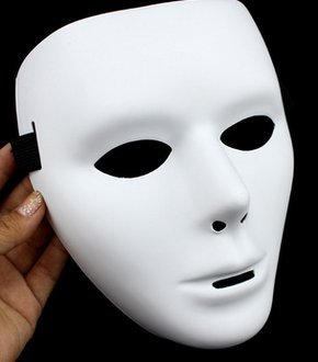 hou zhi liang Full Face Halloween Kostüme DIY Blank Malmaske Halloween Dance Ghost Cosplay Fancy Dress Masquerade Party Maske Männlich (weiß) 1 Stück