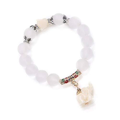 Mujeres Niñas elefante colgante de la pulsera de cristal pulsera de cadena...