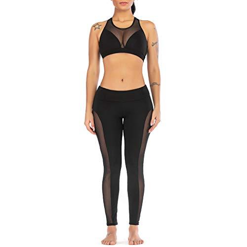 Yesmile Leggings Für Damen, Mesh Perspective Yoga Vest Sport Fitness Set Elastische Tops + Hosen Yogahosen Elastischer Workout Legginghose Jogginghose Damen Sport Leggings Yoga Pants Leggins Hose