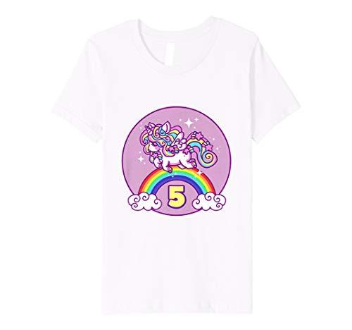 Youth Girls 5th Birthday Unicorn T Shirt Gift