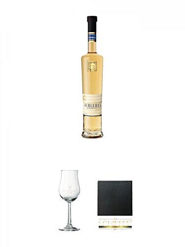 Lantenhammer Schlehengeist Spirituose im Slyrs Faß gereift 0,5 Liter + Lantenhammer Bouquetglas geeicht 1 Stück + Schiefer Glasuntersetzer eckig ca. 9,5 cm Durchmesser