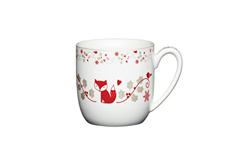 Kitchen Craft 340 ml Winter Woodland taza de porcelana, blanco