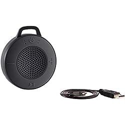 AmazonBasics Enceinte de douche sans fil avec driver 5W, ventouse, microphone intégré - Noir