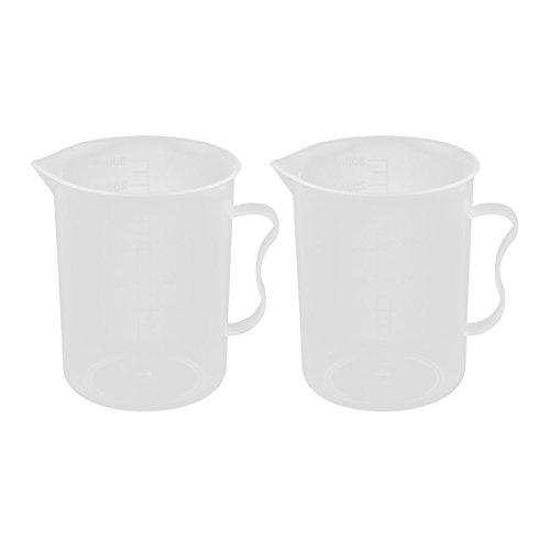 Preisvergleich Produktbild sourcingmap® 2Stk Küche Labor Kunststoff absolvierte flüssig solide Becher Tasse klar 250ml