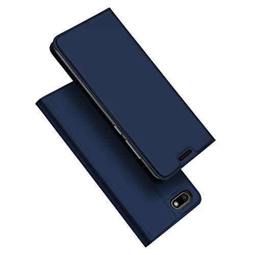 DUX DUCIS Huawei Y5 Prime 2018 Hülle, Huawei Y5 2018 Hülle, Honor 7S Hülle, Flip Folio Handyhülle, Magnet, Standfunktion, 1 Kartenfach, Ultra Dünn Schutzhülle (Blau)